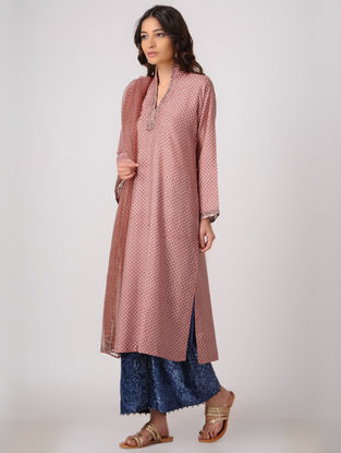Red-Beige Silk Kurta with Embroidery
