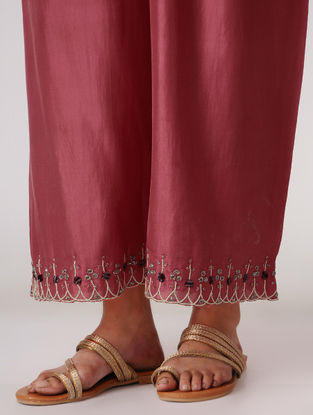 Burgundy Elasticated Waist Silk Pants with Embroidery