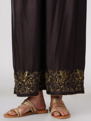 Brown Elasticated Waist Silk Pants with Embroidery