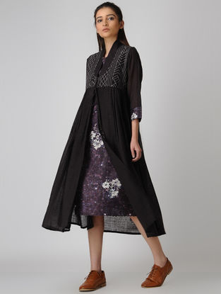 Brown Tie-up Wool-Voile Jacket with Embroidery