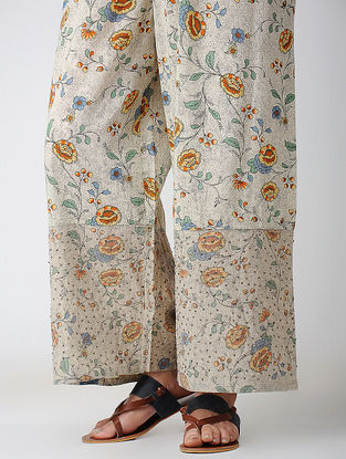 Multicolor Voile Pants with Embroidery