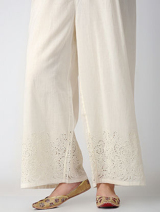 Pink Cotton Silk Pants with Embroidery
