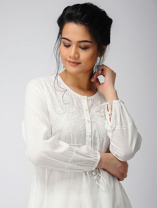 White Voile Kurta with Embroidery