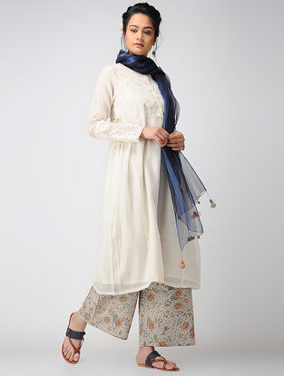 Ivory Embroidered Cotton Silk Kurta with Slip (Set of 2)