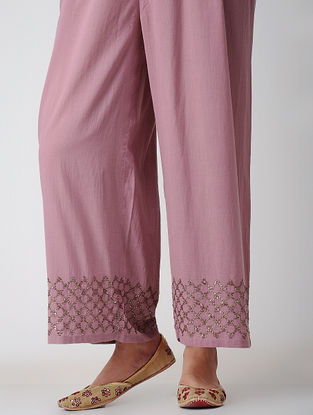 Pink Voile Pants with Embroidery