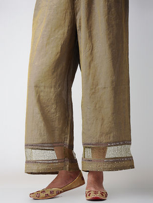 Brown Tissue Pants with Embroidery
