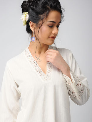 Ivory Cotton Dobby Kurta with Embroidery