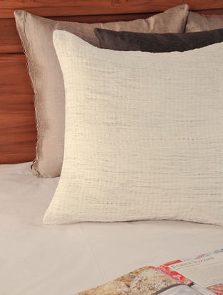 Pleated Cotton Off-White Cushion Cover 18in X 18in