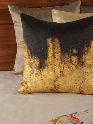 Foil Printed Tassar-Viscose Gold-Dark Brown Cushion Cover 18in X 17.5in