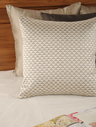 Embroidered Tassar-Viscose Stone Cushion Cover 18in X 18in