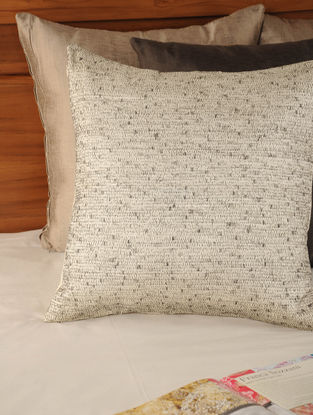 Zari & Thread Jaal Tassar-Viscose Ivory-Grey Cushion Cover 18in X 17.5in