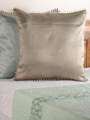 Dori Loop Tussar Viscose Brown Cushion Cover 26in X 26in
