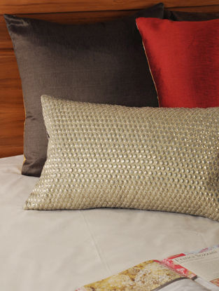 Zari Embellished Cottonflax Natural-Charcoal Cushion Cover 19.5in X 12in