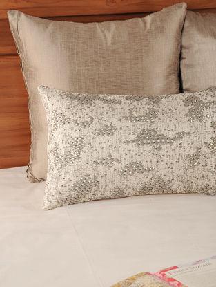 Zari Embellished Tassar-Viscose Lily White Cushion Cover  19.5in X 12in