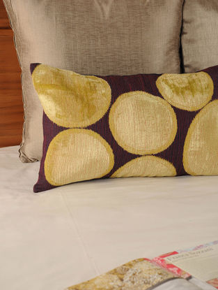 Circular Patch Work Tassar-Viscose Navy-Yellow Cushion Cover 19.5in X 12in