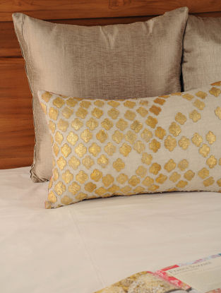 Patch Work Linen Net Golden-Beige Cushion Cover 20in X 12in