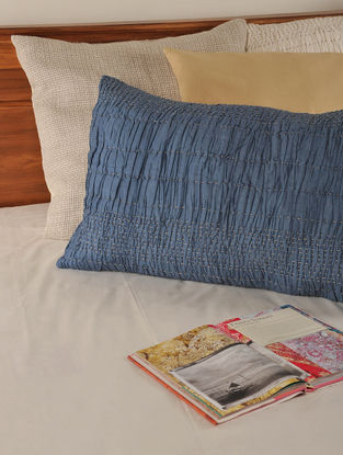 Kantha Silk-Cotton Indigo Pillow 30in X 20in