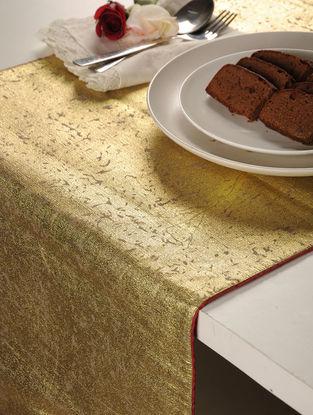 Foil Printed Linen Cotton Golden Table Runner 58in X 16in