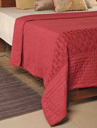 Kantha Cotton Red Quilt 104in X 103in