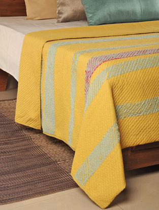 Cut Work Cotton Turmeric Quilt 102in X 100in