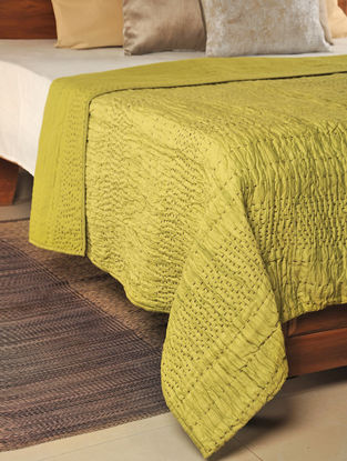 Kantha Cotton Lime Quilt 102in X 102in