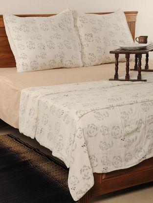 Block Print Cotton Cream Duvet & Euro Sham Cover-Set of 3