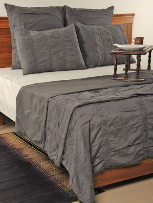 Pleated & Crinckled Cotton Charcoal Duvet, Euro Sham, & Standard Sham Cover-Set of 5