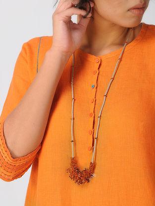 Orange Tissue Necklace with Tassels