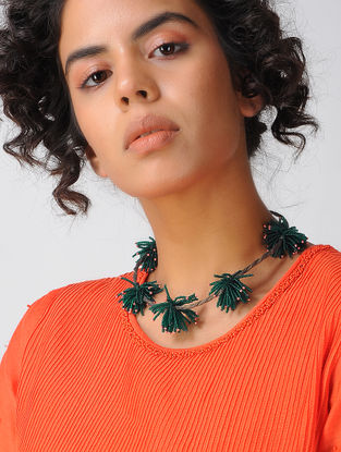 Green Voile Necklace with Tassels