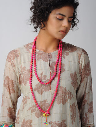 Red Silk Necklace with Tassels