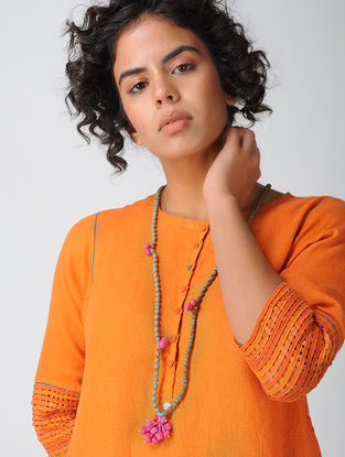 Brown Silk Necklace with Tassels