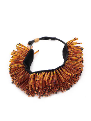 Orange Mashru Bracelet with Tassels