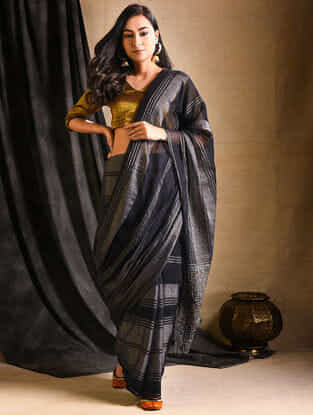 Black Silk-Cotton Saree