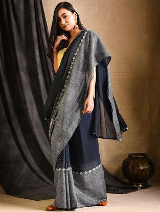 Charcoal Silk-Cotton Saree