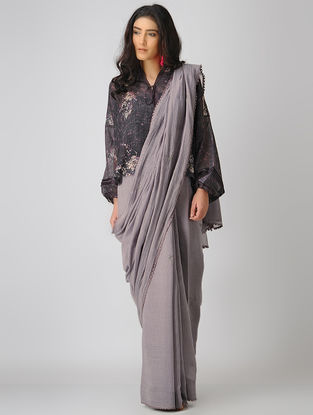 Grey Embroidered Chanderi Saree with Crochet Lace