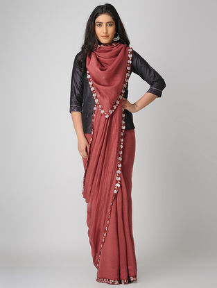 Red-Ivory Embroidered Chanderi Saree with Zari Border