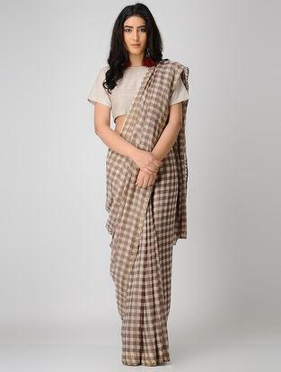 Brown-Beige Embroidered Tissue Saree