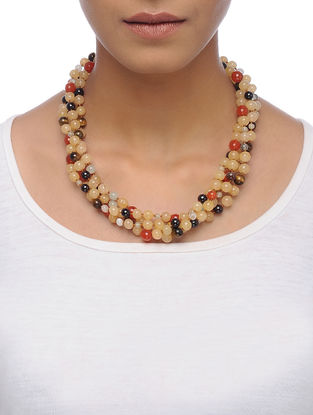 Jade and Tigers Eye Beaded Silver Necklace