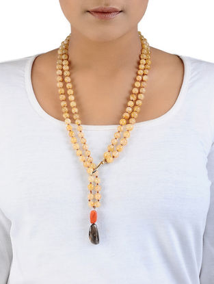 Carnelian and Topaz Gold-plated Silver Necklace
