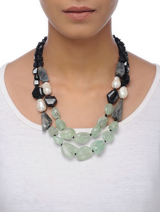 Fluorite and Black Onyx Beaded Silver Necklace