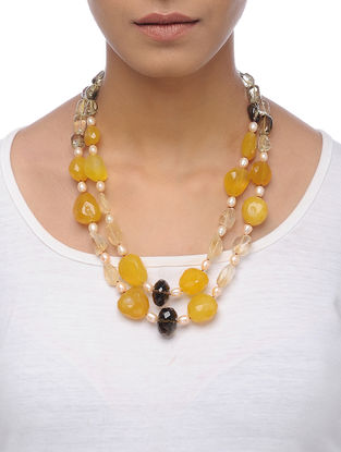 Citrine and Topaz Beaded Silver Necklace