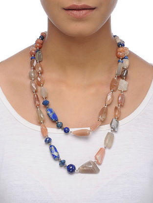 Moonstone and Lapis Lazuli Beaded Silver Necklace