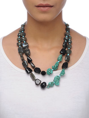 Black Onyx and Turquoise Beaded Silver Necklace