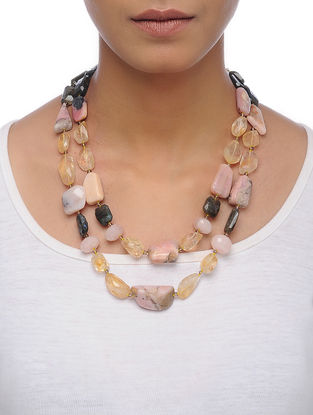 Pink Opal and Citrine Beaded Silver Necklace