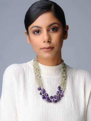 Amethyst and Jade Beaded Silver Necklace