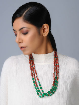 Green Quartz and Jasper Beaded Silver Necklace