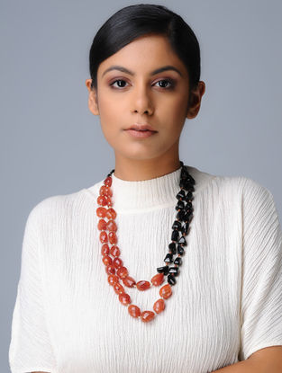 Carnelian and Black Onyx Beaded Silver Necklace