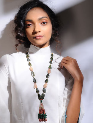 Onyx and Jade Beaded Silver Necklace