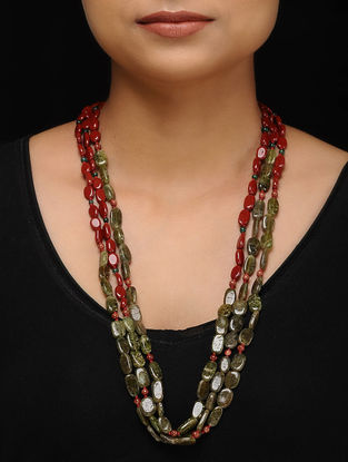 Jasper and Sandstone Beaded Silver Necklace
