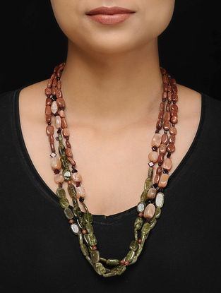 Moonstone and Sandstone Beaded Silver Necklace
